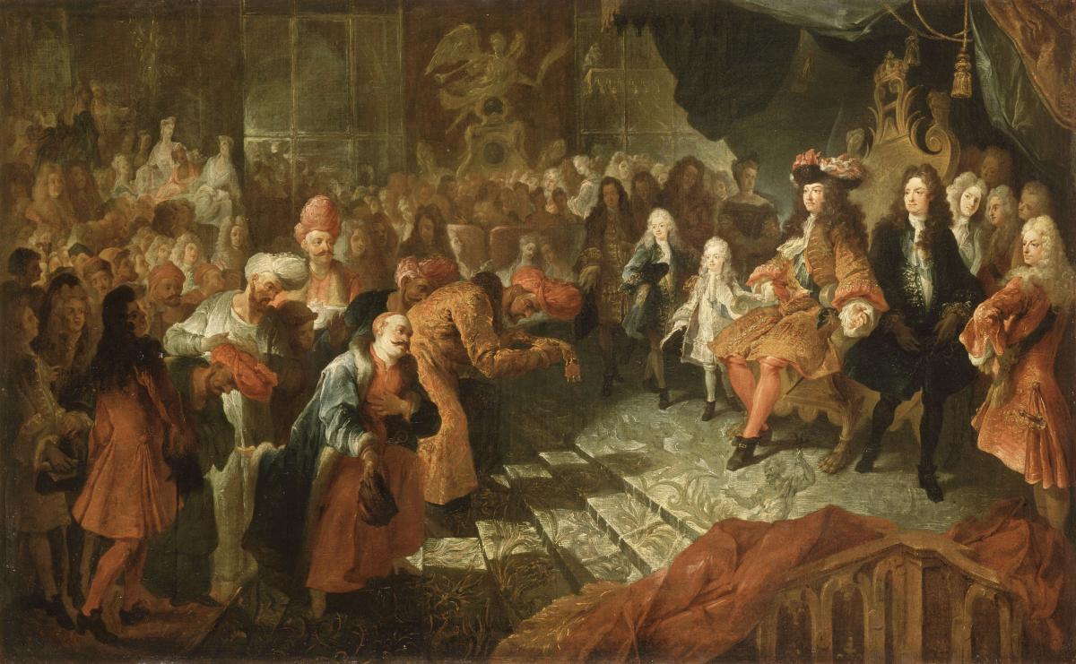 Visiteurs de Versailles 1682-1789 - Mécénat  Louis_xiv_recevant_lambassadeur_du_shah_de_perse_par_nicolas_de_largilliere