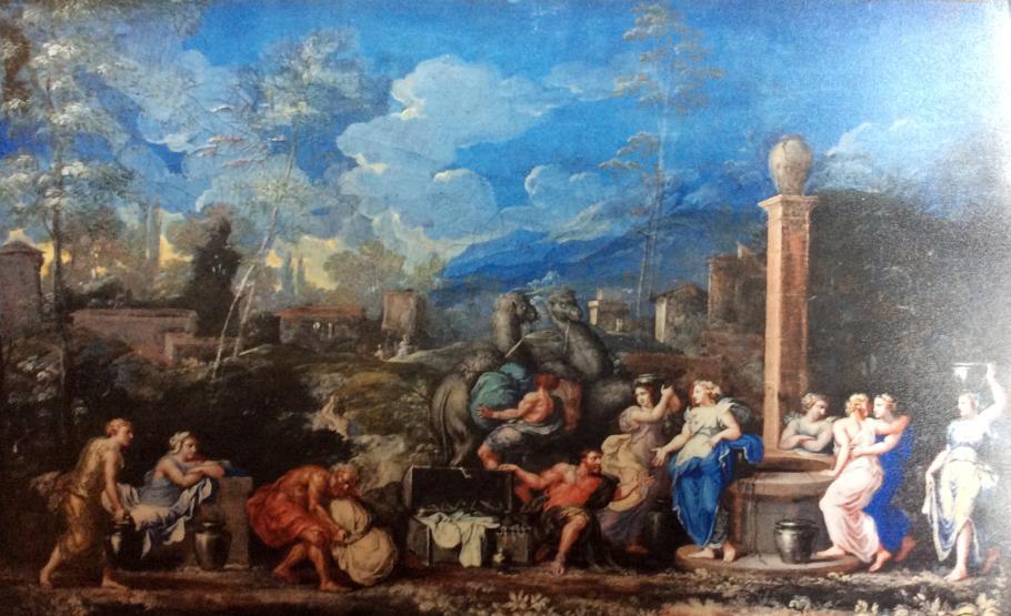 Eliezer et Rebecca au puits, gouache