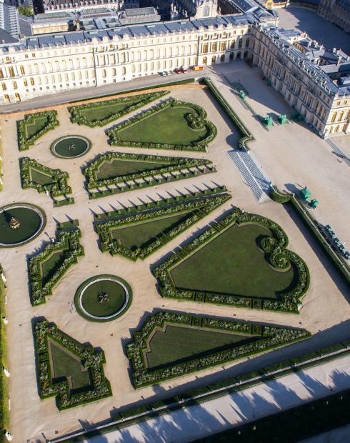 vue aérienne des jardins